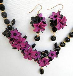 Statement flower necklace  Violet jewelry  Polymer by insoujewelry, $75.00