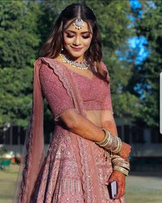 This Bride's Rouge Pink Engagement Look Will Leave You Amazed! Indian Bridal Outfits, Indian Bridal Fashion, Indian Bridal Wear, Indian Designer Outfits, Indian Wear, Designer Dresses, Indian Wedding Gowns, Indian Bridal Lehenga, Dress Indian Style