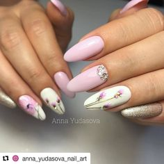 Charismatic Hand Painted Pink Flower Nail Art