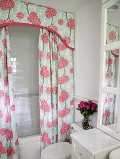 Shower Curtain Luxe - Bathroom Gets a Girly Makeover on HGTV