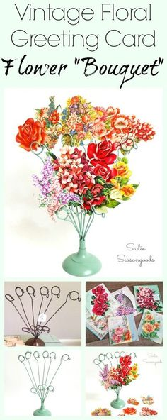 """Want a flower bouquet that will never wilt? Repurpose an old wire photo or memo holder and pair it with vintage floral greeting cards! The flowers are carefully cut out and arranged / displayed in the wire holder...creating a flower bouquet. Or, a """"fauxquet"""", as the case may be. Cheery, lovely, and super simple DIY upcycle craft project that will brighten your day and desk! #SadieSeasongoods / www.sadieseasongo..."""