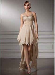 Empire V-neck Asymmetrical Chiffon Satin Homecoming Dress With Ruffle Beading (022009956)