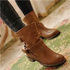 Fashionable Brown PU Upper Flat Boots with Buckle