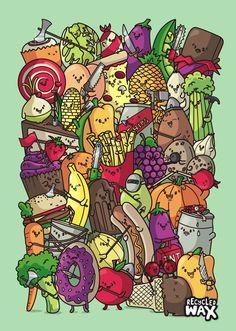 Food Fight by recycledwax.deviantart.com on @deviantART