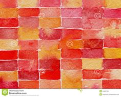 Red Yellow And Pink Watercolor Abstract Painting Royalty Free ...