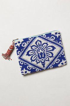 Beaded Bali Pouch | blue and white victorian damask pattern