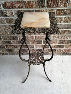"""Antique Victorian Wrought Iron Plant Candle Stand Table Marble Top 30"""" Tall 