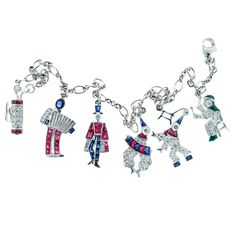 Charming Natural Gem Diamond Platinum Charm Bracelet | From a unique collection of vintage charm bracelets at https://www.1stdibs.com/jewelry/bracelets/charm-bracelets/