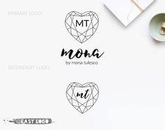 Diamond Heart Logo Set. Primary  Secondary Logo. by easylogo