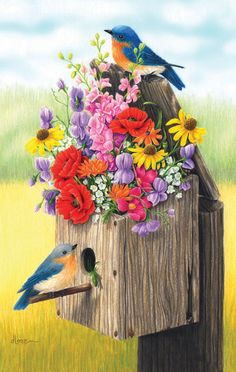 Bouquet for Bluebirds - 550 pieces. Released 2012. Artist: Loren Guttormson.Sunsout puzzles are 100% made in the USAEco-friendly soy-based inksRecycled boardsNot sold in mass-market stores