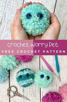 Worry pets are the perfect crochet gift for kids of any age! Can you believe this is crochet? Learn how to crochet your own fuzzy monster toy with this free crochet pattern and full video tutorial. Yarn Projects, Knitting Projects, Crochet Projects, Sewing Projects, Crafty Projects, Crochet Ideas, Cute Crochet, Crochet For Kids, Knit Crochet