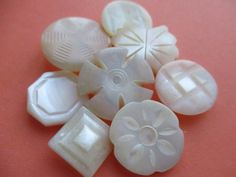 PRETTY VINTAGE MOTHER of PEARL BUTTONS CARVED & SHAPED SHANKED 8 pcs. noelhumphrey on eBay.co.uk Button Cards, Button Button, Passementerie, Mother Of Pearl Buttons, Fashion Sewing, Haberdashery, Vintage Buttons, Vintage Sewing, Abundance