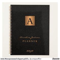 2022 Monogrammed elegant gold black modern Planner
