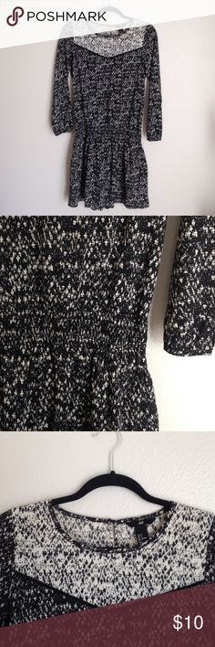 H&M smock waist dress Black and white speckled pattern H&M Dresses Mini