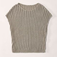 Crochet Patterns Sweter Zopfpullunder with overcut shoulders Crochet Pullover Pattern, Poncho Knitting Patterns, Knitting Designs, Knit Crochet, Crochet Patterns, Free Knitting, Big Knits, Summer Sweaters, Knitted Tank Top