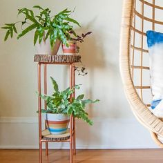 Make a side table or plant stand out of copper pipe and log slices. It's easier than it looks!