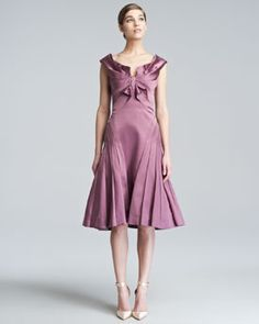 B244Q Zac Posen Duchess Satin Flare Dress