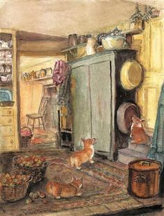 "A classic, instantly recognizable Tasha Tudor print, drawn from her own home. The alternative title was ""Cat in the Mixing Bowl"", because, if you look closely, you'll see Minou hiding from the corgyn. We are particularly pleased with Granny's ability to capture the Oriental rug, as well as the antique texture of her blue cupboard.  	Printed by Tasha Tudor and Family in August 2001.  	Size 12"" x 17""  	Printed in USA!"