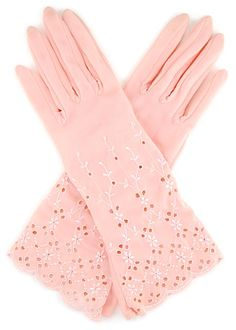 Vintage 1950s embroidered eyelet pink gloves