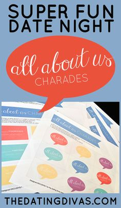 A FUN easy, at-home date that doesn't involve TV!  Free game printables included!! www.TheDatingDivas.com #datenight #charades #games