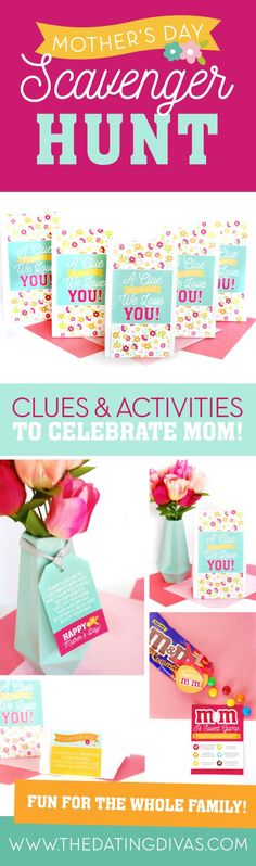 Mother's Day Scavenger Hunt - it's a fun family activity to make moms feel loved and appreciated! Homemade Mothers Day Gifts, Mothers Day Crafts, Mother Day Gifts, Diy Mother's Day Crafts, Mother's Day Diy, Holiday Dates, Holiday Fun, Scavenger Hunt Clues, Scavenger Hunts