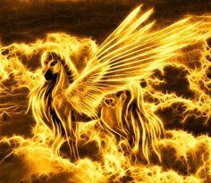 Pegasus on fire Clydesdale, Magical Creatures, Fantasy Creatures, Pegasus, Fire Horse, Top Imagem, Golden Horse, Fire Image, Flame Art