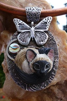 Midnight Moon Siamese cat custom handmade porcelain sterling silver pendant SRA
