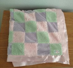 Cocalo Pink Purple Green Baby Girl Satin Blanket Patchwork Security Sherpa #CoCaLo