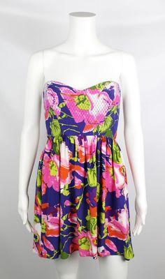 Parker Multicolor Dalia Floral Print Strapless Jenna Silk Dress Size XS $242 #Parker #Sundress #Cocktail