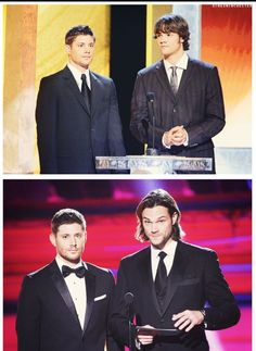 I love that both their suits look too big in the first one, then the second one they've filled out. Jensen also looks terrified in the first one and slightly less in the second haha