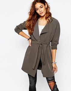 Noisy May Lightweight Belted Trench Coat