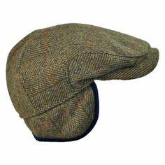 Wigens Caps Harris Tweed Herringbone Check Ivy Cap with Earflaps