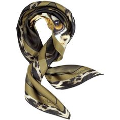 Roberto Cavalli Tiger Printed Twill Silk Square Scarf (€130) ❤ liked on Polyvore featuring accessories, scarves, gold, square scarves, silk scarves, roberto cavalli, silk shawl and square silk scarves