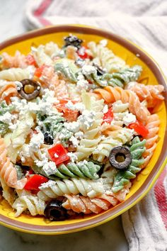 """Tri-Colored Pasta with Feta Cheese 