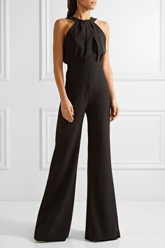 Saloni - Fern Stretch-cady Halterneck Jumpsuit - Black - UK10