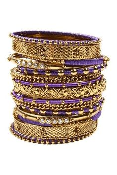 Stacked Purple & Gold Bangles.
