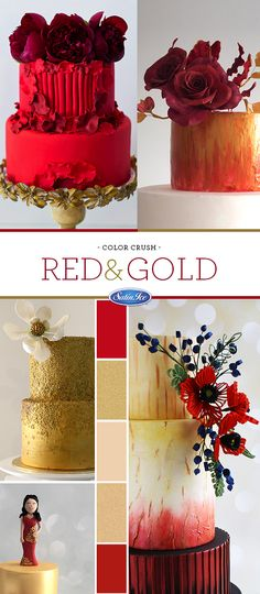 #ColorCrush - Embrace Indian Summer and the warmth of red and gold for your wedding day! Cake artists who did it best: Sephiria Taarten, Madison's on Main, Sweet Delights Cakery, Alaa Abdullah and Miss Shortcakes.