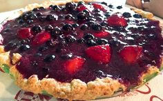Glazed Fresh Blueberry and Strawberry Pie with Whipped Cream - Perfect for Fourth of July! #FourthofJuly #dessert #recipe