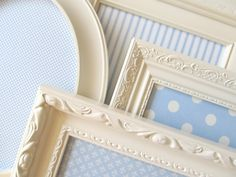 COLLECTION of MAGNET BOARDS Boys or Girls Nursery Wall Decor Baby Blue White Ivory Vintage Picture Frame Collage Set Polkadots Stripes. $159.00, via Etsy.