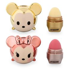 Limited edition gold Mickey and rose gold Minnie Tsum Tsum Lip Smacker set - Mickey is whipped-pineapple magic flavor and Minnie is strawberry beignet flavor!