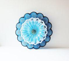 Glass Egg Plate Garden Art Blue Yard Decor Vintage Suncatcher Reclaimed Material BETTY via Etsy