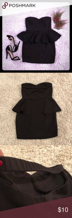Stretchy black peplum mini dress NO TRADE!  Medium black mini dress. Cut out back. Padded top. Gently worn. No rips or stains. Dresses Mini