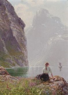 Landscape Paintings by Hans Dahl Norwegian Artist The Geiranger Fjord, Norway