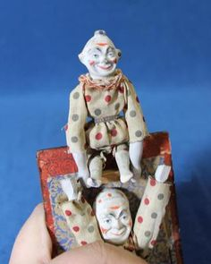 Rare Antique German Mechanical Jack in the Box Double Composition Clowns Doll Old Dolls, Antique Dolls, Pop Goes The Weasel, Send In The Clowns, Scary Things, Clowning Around, Jack In The Box, Creepy Dolls, Rare Antique