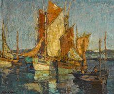 "fleurdulys: "" Sailboats in Harbor - Edgar Payne century "" Western Landscape, Landscape Art, Landscape Paintings, Landscapes, Dundee, Weisman Art Museum, Edgar Payne, Seascape Paintings, Oil Paintings"