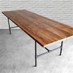 Wood Dining Room Table with reclaimed wood top and iron pipe legs in choice of sizes, base style or finishes Reclaimed Wood Dining Table, Reclaimed Wood Furniture, Recycled Furniture, Bar Furniture, Diy Wood Table, Wood Desk, Long Wood Table, Wood Wood, Antique Furniture