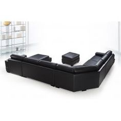 Ritz - Modern Black Leather Sectional Sofa Set