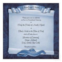 Blue Commitment Ceremony Invitations (Alternate Square Design) #zazzle #gaywedding