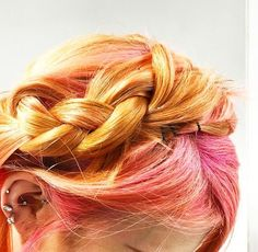 Swooning over milk maid braids in perfect pastel shades at HQhair today! Milkmaid Braid, Peach Aesthetic, Orange You Glad, Pastel Shades, Hair Inspo, Orange Color, Braids, Hair Color, Mood