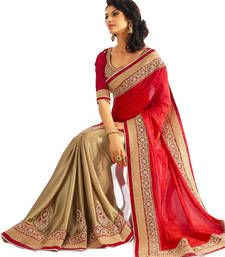 Buy FOG DESIGNER RED & CREAM JACURD SAREE jacquard-saree online